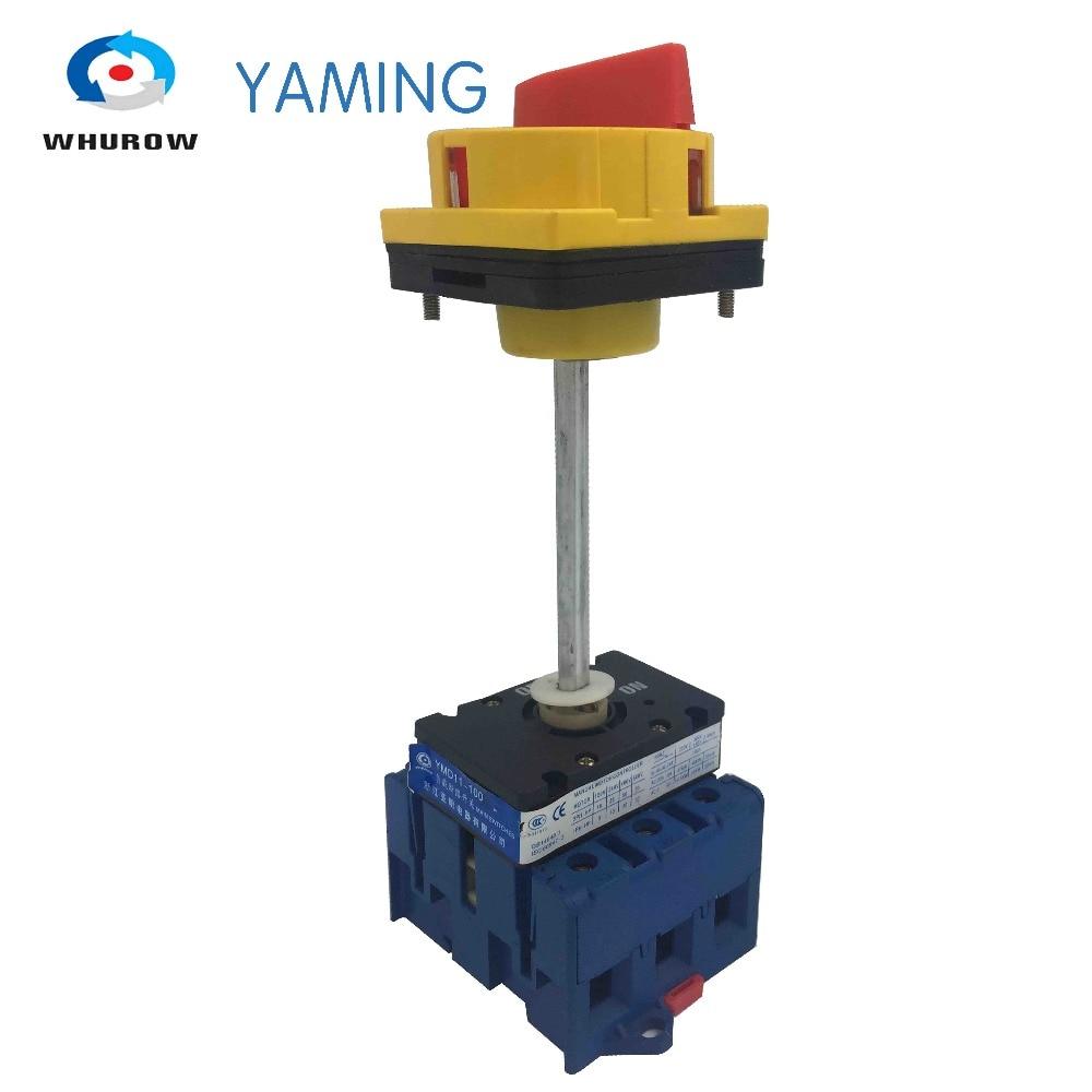 Isolator schalter mit vorhängeschloss panel 100A 3 Phasen 2 position auf-off mit aluminium bar drehschalter schrank YMD11-100B