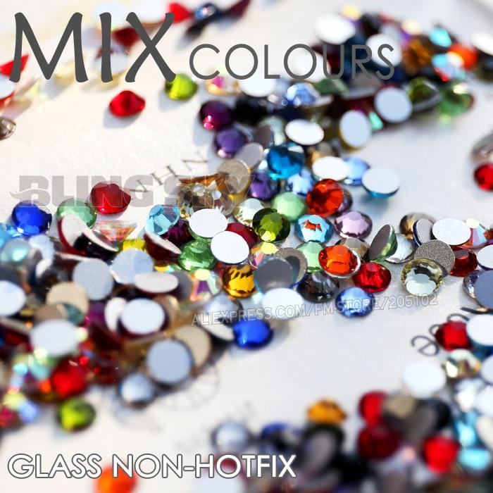 Mix Colors Nail Art Crystals SS3 SS4 SS5 SS6 SS10 SS20 SS30 Flat Back Non HotFix Rhinestone Glitters Decoration DIY stone strass