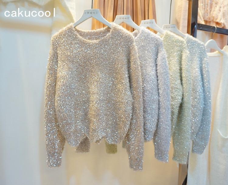 Cakucool femmes or Lurex chandails automne hiver Bling Furry pull élégant brillant en vrac court tricoté pull Femme
