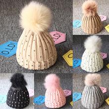 2019 New Boy Girls lovely kintted Pompon Beanies Winter Caps Warm Fur Pom sequins Knit Beanie Hat fleece crochet Caps