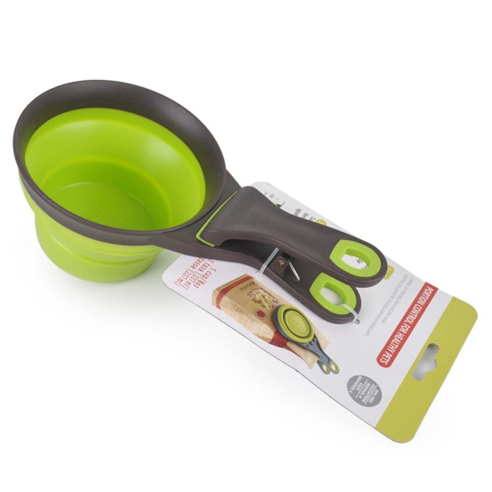 Nueva y creativa taza medidora con Clip de sellado plegable Gato cuchara para alimentar al bebé