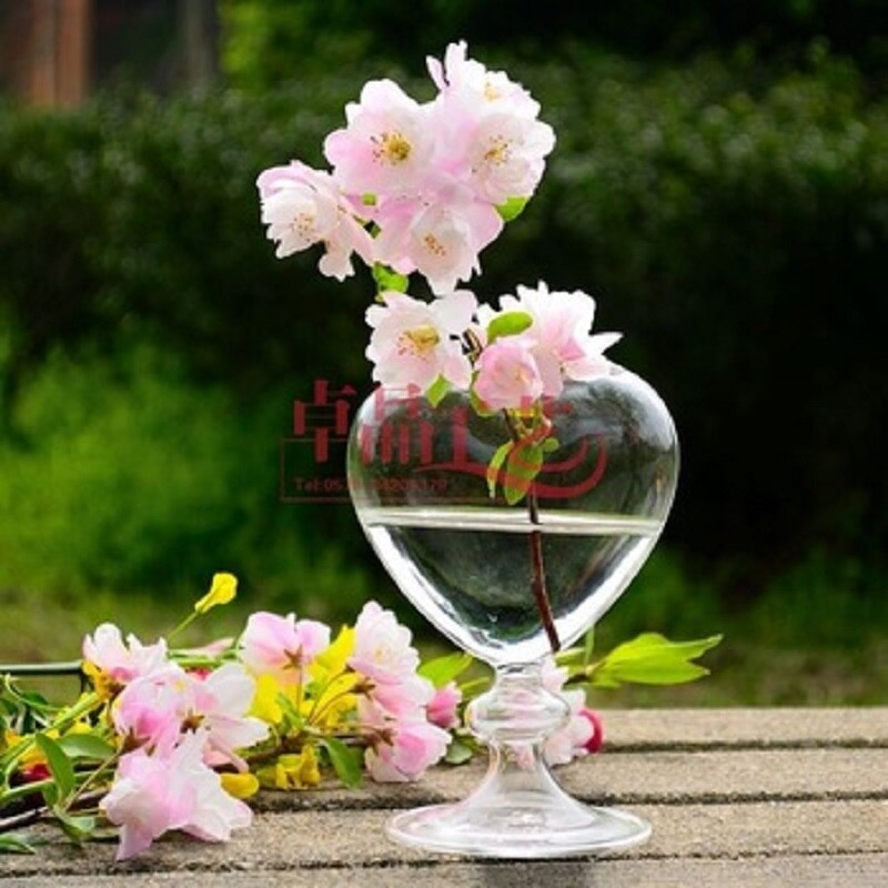 O. RoseLif florero de cristal de corazón para el hogar florero de escritorio florero decorativo 100% hecho a mano jarrón decorativo para boda