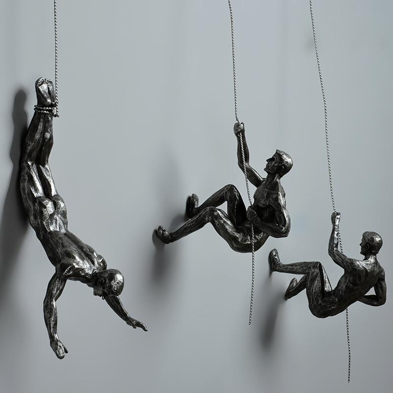 Estilo Industrial escalada hombre resina de alambre de hierro de colgando de la pared decoración figuras de escultura creativa Retro presente estatua decoración TB01