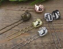 20 stk/partij Koper/Messing Foto Medaillon Haarspeld clip, Haar Stokken, Antiek Brons/Goud/Zilver/zwart Haar Bobby pin DIY Vintage Sieraden