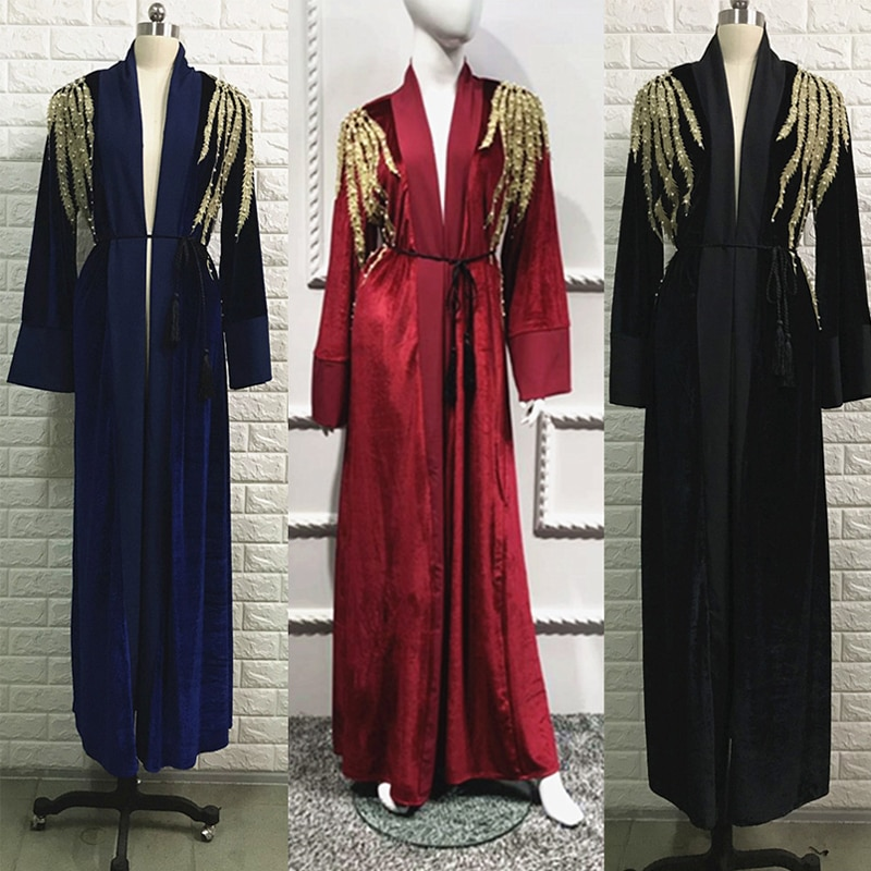 Terciopelo Kaftan Abaya Turquía musulmán vestido hijab caftán marroquí Jilbab túnica de Dubái islámico ropa abayas para damas Ramadán Elbise