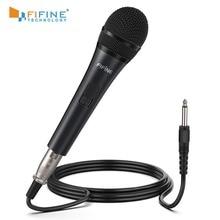 Fifine Dynamische Microfoon Voor Speaker Vocal Microfoon Voor Karaoke Met Aan/Uit Schakelaar Omvat 14.8ft Xlr Naar 1/4 verbinding