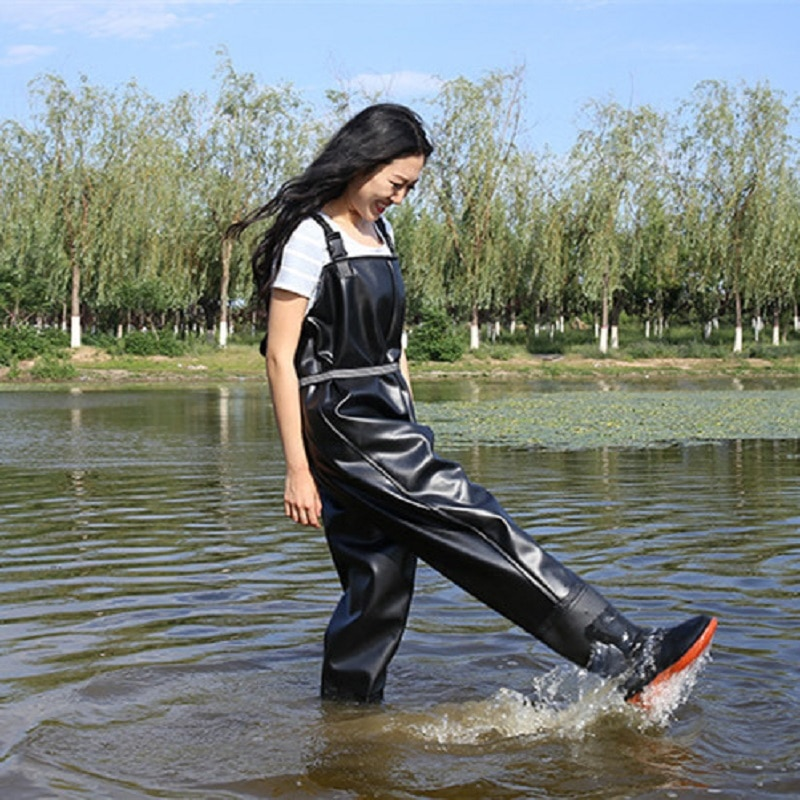high jump ultra thin 0 34mm siamese fishing waders waterproof 700d nylon pvc breathable chest height pocket belt fishing overall Waterproof Fishing Boots Wader For Fishing Waders Fishing Shoes Fish Overalls Breathable Chest Waders Wading Boots Wading Shoes
