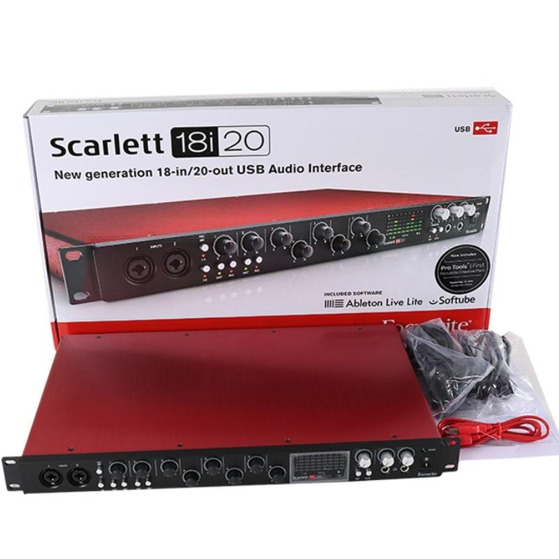 Nova geração focusrite scarlett 18i20, 18-entrada/20-saída usb, interface de áudio, gravação de placa de som (2 ° geração)