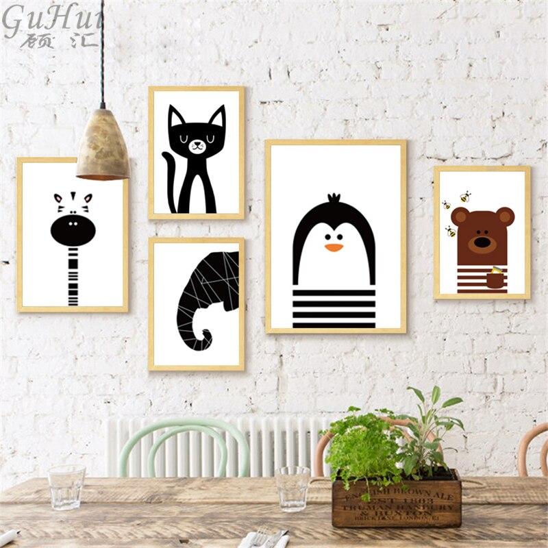 Nórdico dos desenhos animados preto e branco animais elefante urso pintura em tela pinguim gato posters quadros de parede crianças decoração do quarto