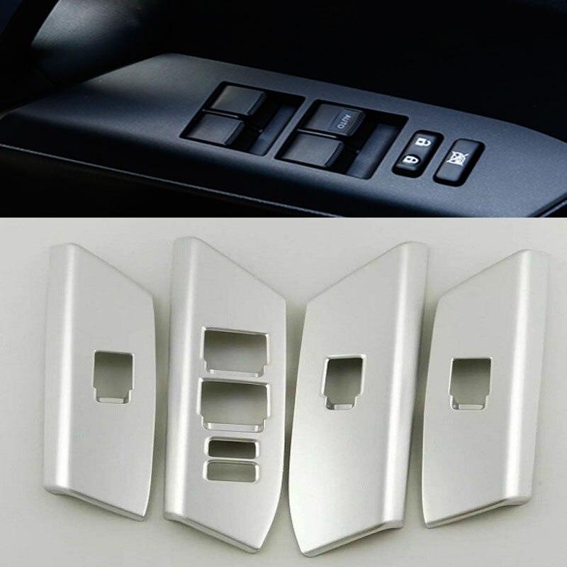 Estilo de coche de cubierta de interruptor de ventana para Toyota RAV4 RAV 4 Ventana cubierta de Panel de botones pegatina para RAV4 2014-2016 2017 pegatina de coche