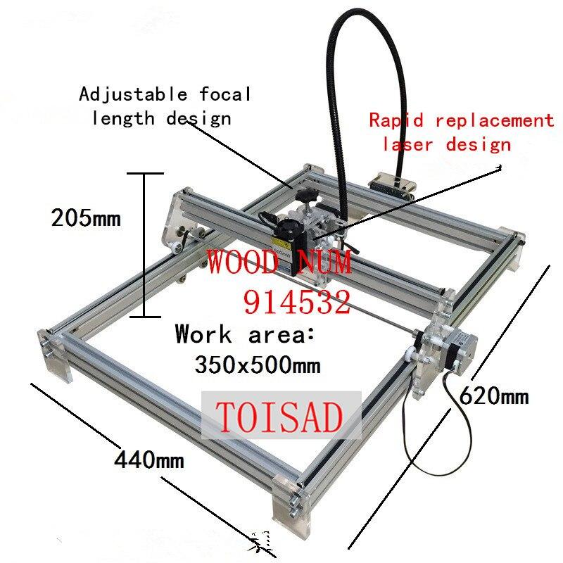 Mini máquina de grabado láser de escritorio DIY de 5500 mw, máquina de grabado de marcado, 350*500 cara de trabajo