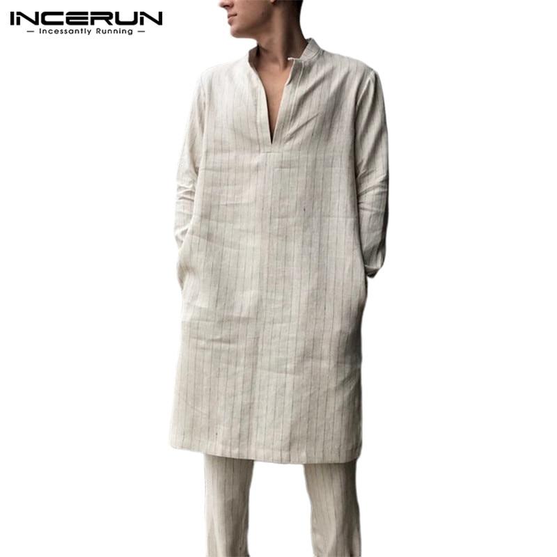 INCERUN, camiseta informal de rayas para Hombre, manga larga, holgada, cuello en V, Vintage, traje indio, camisas largas, Túnica para Hombre, Kaftan musulmán 2020