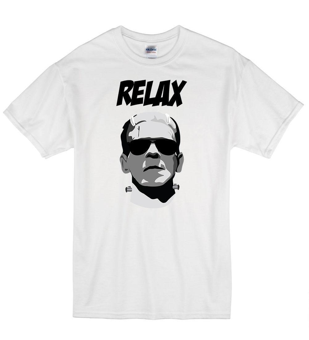 2019 Summer Hot Sale Men O-Neck T Shirt Frankie Say Relax Says Frankenstein Funny Halloween T Shirt Tshirt Mens Womens G