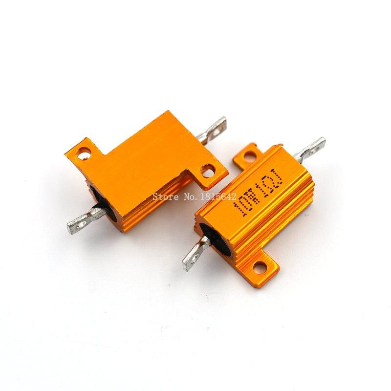2 uds RX24 10W 1R 1RJ resistencia de alambre enrollado carcasa de Metal resistencia de aluminio dorado 10 vatios 1 ohm resistencia del disipador térmico