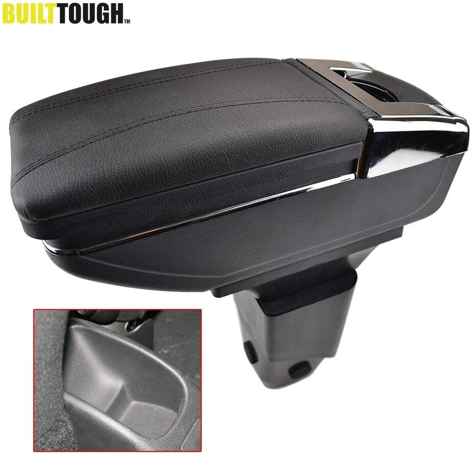 Reposabrazos de coche para Peugeot 206 206 + 207 compacto 2009-2012 Reposabrazos de centro de cuero PU consola central caja de almacenamiento bandeja portavasos