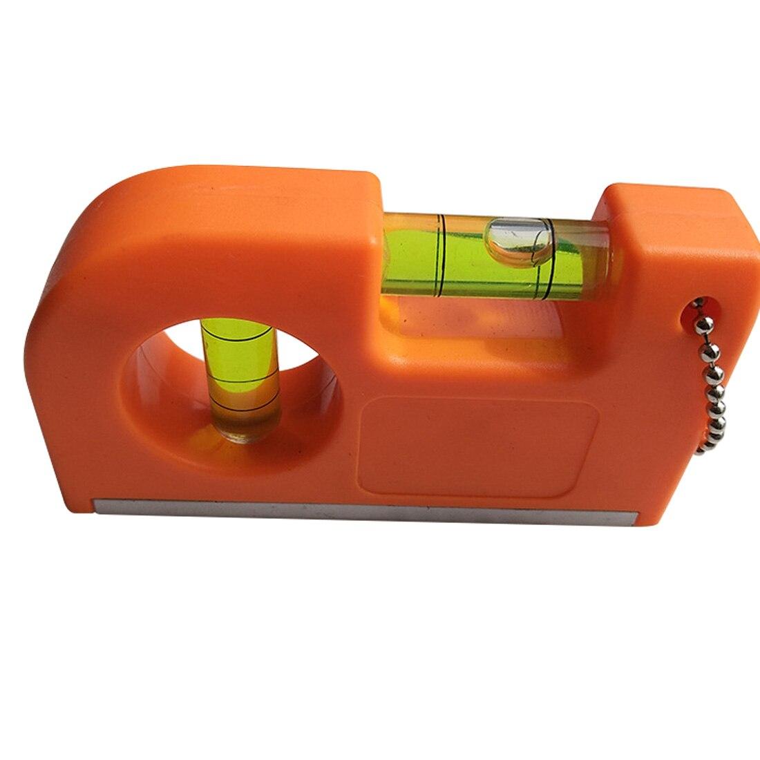 Mini llavero regla de nivel con Base magnética V raya nivel de burbuja abrazadera 83X50mm