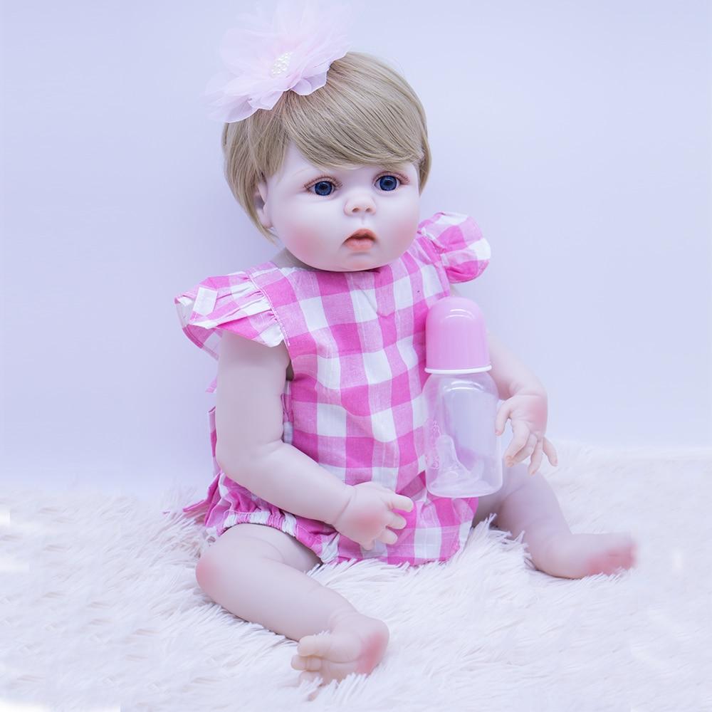 55cm High quality blonde hair Bebes Reborn Doll Toys full  Silicone reborn baby Doll cute princess boneca girls play house toy