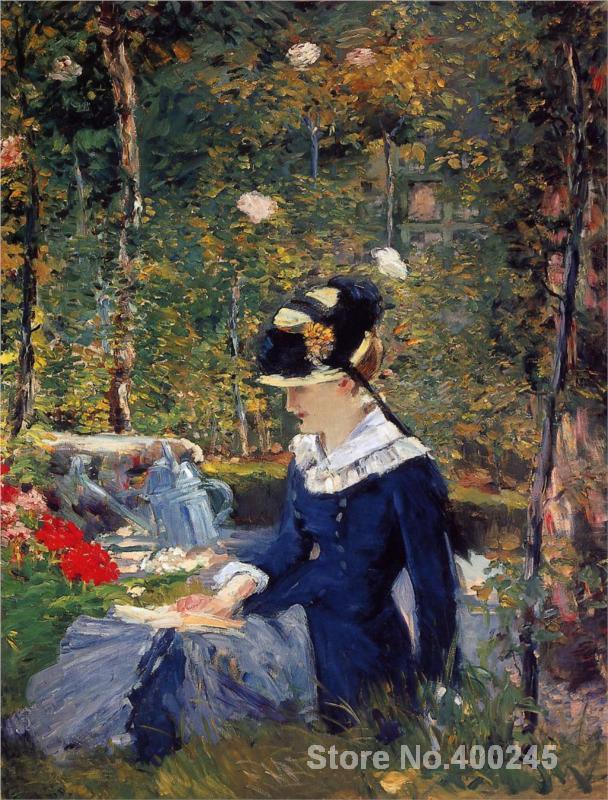 Mujer joven en el jardín Edouard Manet pintura para la venta pintada a mano de alta calidad