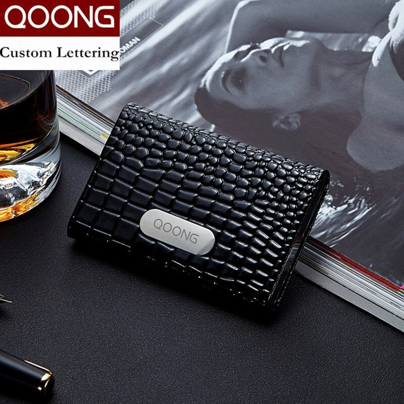 deli business name card box big capacity credit card holder memo pad QOONG Business Name Card Holder Credit Card Holder Fashion Unisex Visit Card Case Metal Wallet Leather Solid Steel Box KH1-010