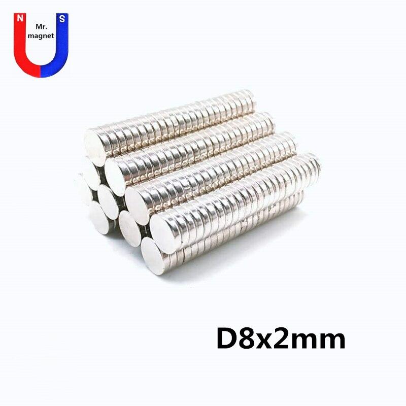 100 Uds 8x2 Mini disco pequeño imán redondo de neodimio 8mm x 2mm imanes de joyería 8*2 super fuerte imán de tierras raras N35
