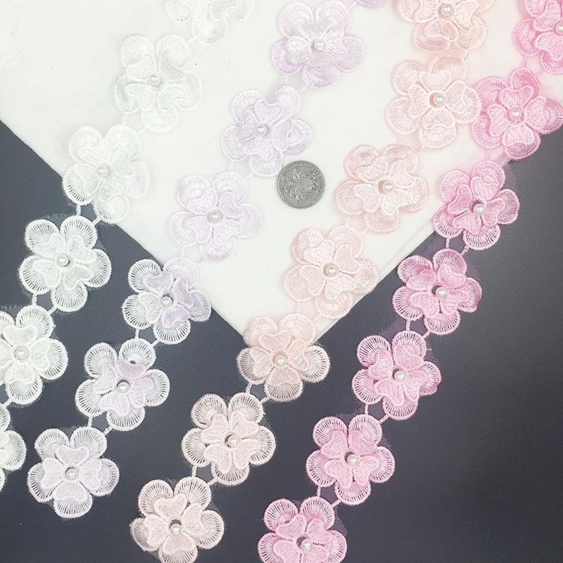 Spitze Band Weiß Blumen 3d dekoration Bestickte Spitze trim Patches für Kleidung Applique für kleidung Nähen Zubehör lot