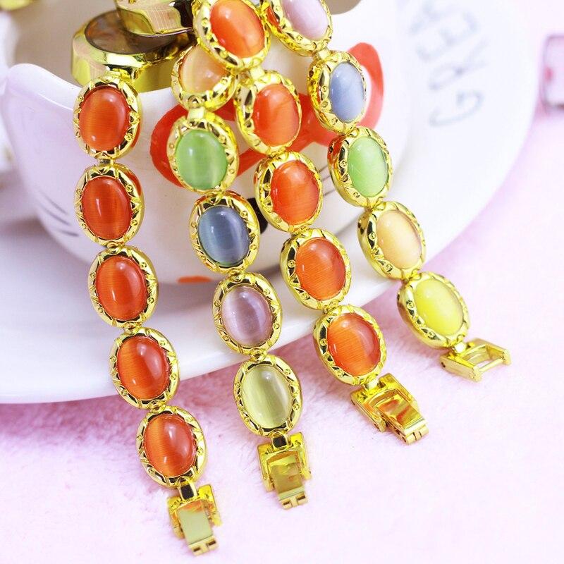2021 Women Ladies Jewelry Gemstone Rhinestone Hand Catenary Quartz Watches Students Girlfriend Holiday Gift Gold Bracelet Watch enlarge