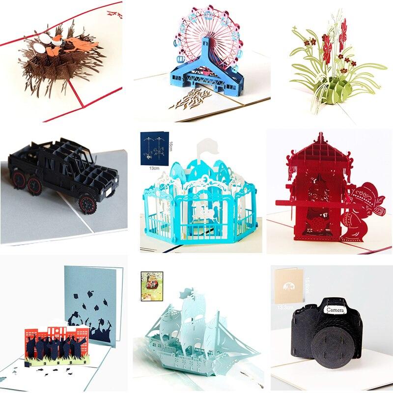 1 unids/lote Cámara 3D estéreo pareja San Valentín regalo de fiesta de cumpleaños tarjeta de felicitación para niños carrusel vino tarjeta de invitación
