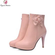 Original Intention Women Ankle Boots Autumn Winter Boots Pink/White/Beige/Blue Platform Stiletto Heel Round Toe Shoes Woman