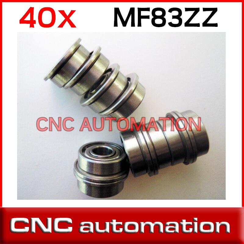 40 piezas MF83ZZ 3X8X3 Mini Metal doble blindado Flang bola rodamiento fianged miniatura ranura profunda rodamiento radial del eje