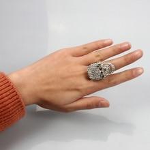 SUKI Skeleton Punk Men Bague Silver Skull Rings Gothic Female Crystal Charm anel caveira Zinc Alloy Ring Male Halloween Jewelry