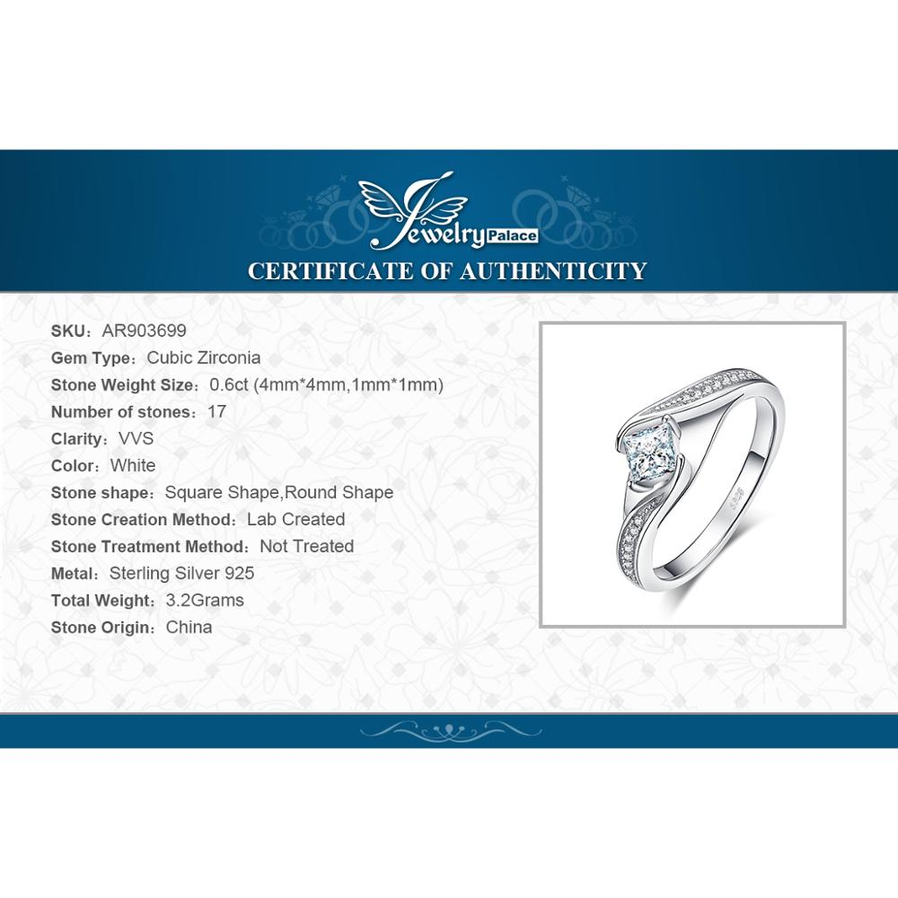 Купить с кэшбэком JewelryPalace Princess Cut Engagement Ring 925 Sterling Silver Rings for Women Promise Ring Wedding Rings Silver 925 Jewelry
