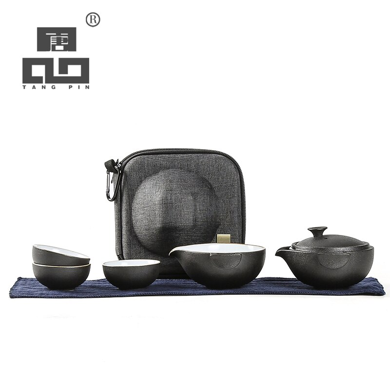 TANGPIN-طقم شاي سيراميك أسود ، طقم شاي ، مع حقيبة سفر