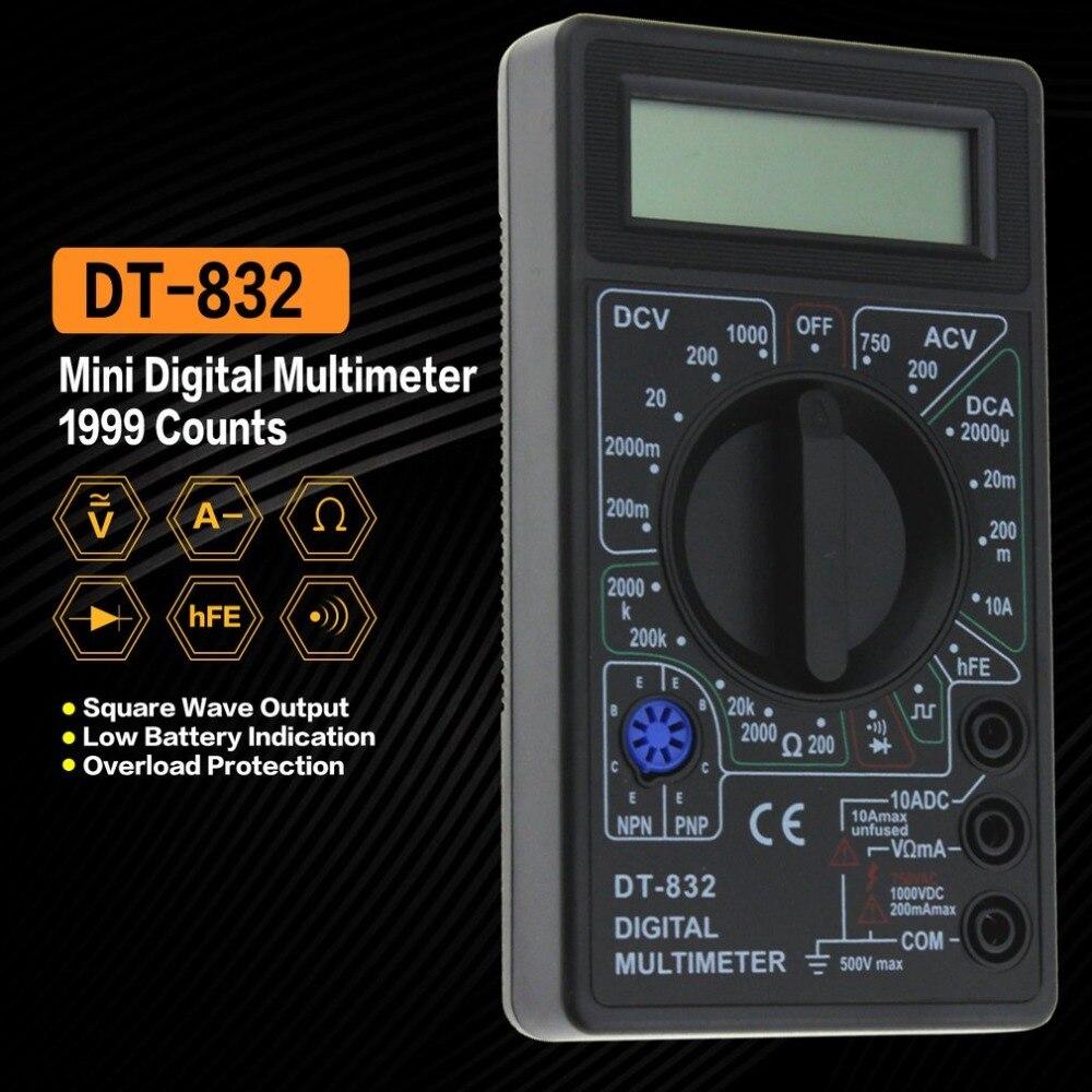 DT-832 Digital Multimeter 1999 Auto Range Zählt AC/DC Amp Volt Ohm Tester Voltmeter Amperemeter ohmmeter Kapazität Multi Meter