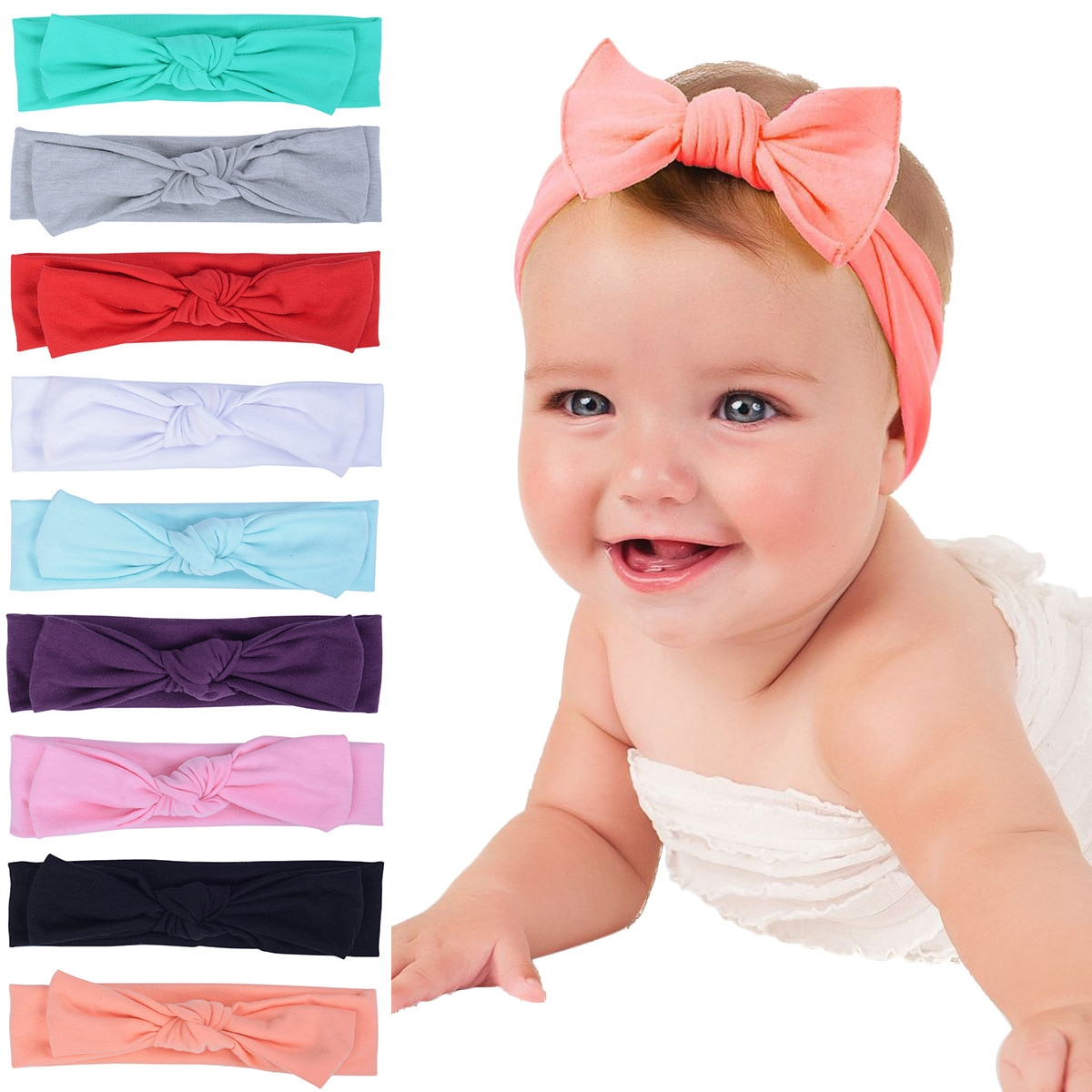 New Adorable Boho Newborn Toddler Headband Ribbon Elastic Baby Headdress Kids Hair Band Girl Bow Kno