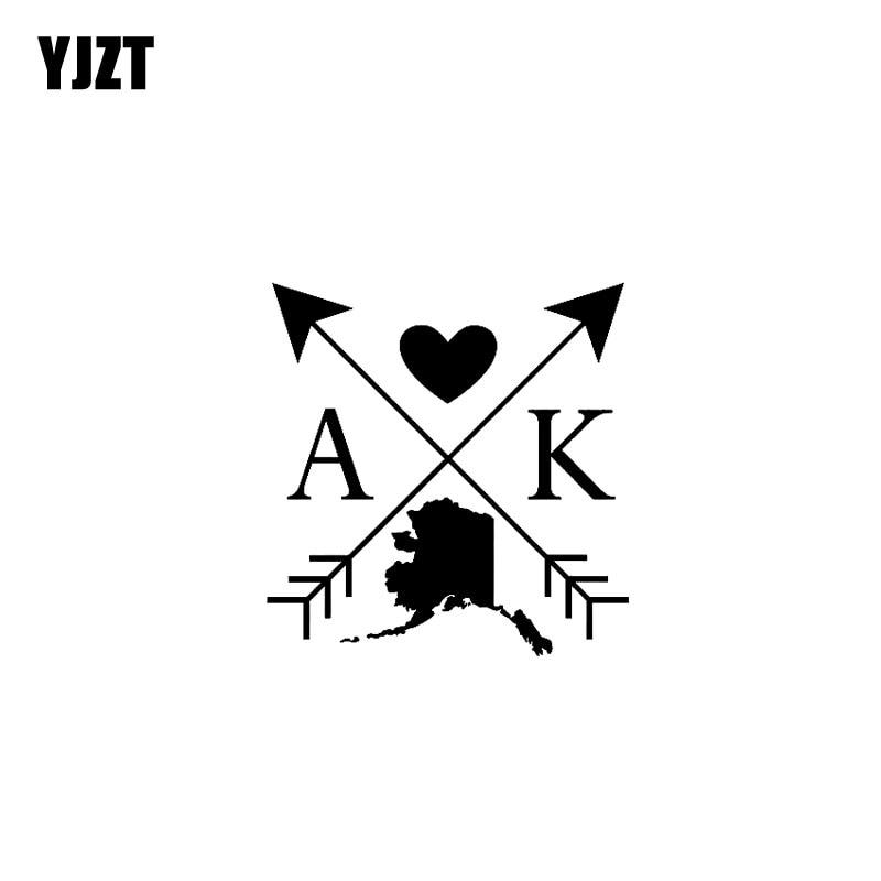 YJZT 12,5 CM * 12,7 CM Alaska amor Cruz flecha vinilo pegatina...