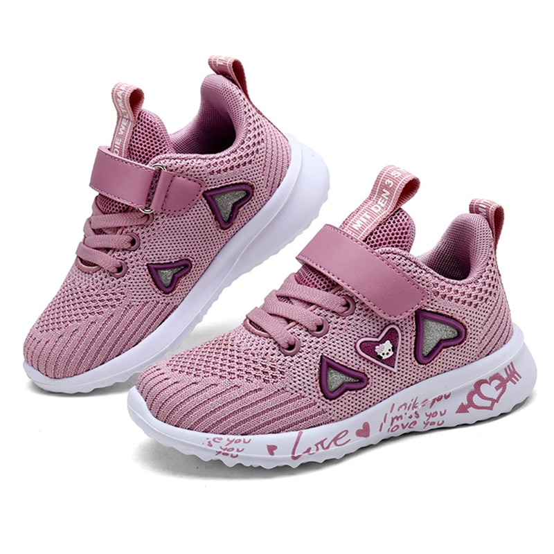 ULKNN Girls sports shoes autumn new children's double net breathable big kids students pink wild chi