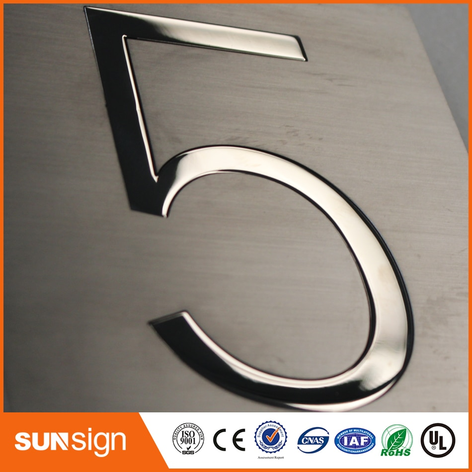 H 5cm 2017 new arrival brushed stainless steel letters