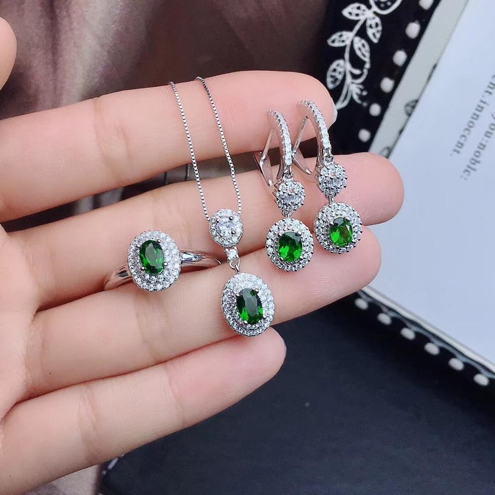 بدلة ديوبسيد طبيعية ، مجوهرات فضية نقية 925 ، أحجار كريمة خضراء زاهية. ديلوكس توصية