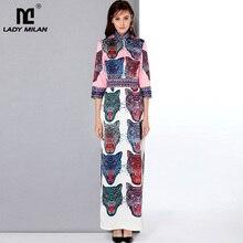 Женское длинное платье, расшитое бусинами, с воротником-стойкой и рукавами 3/4, с рисунком, Боковым Разрезом