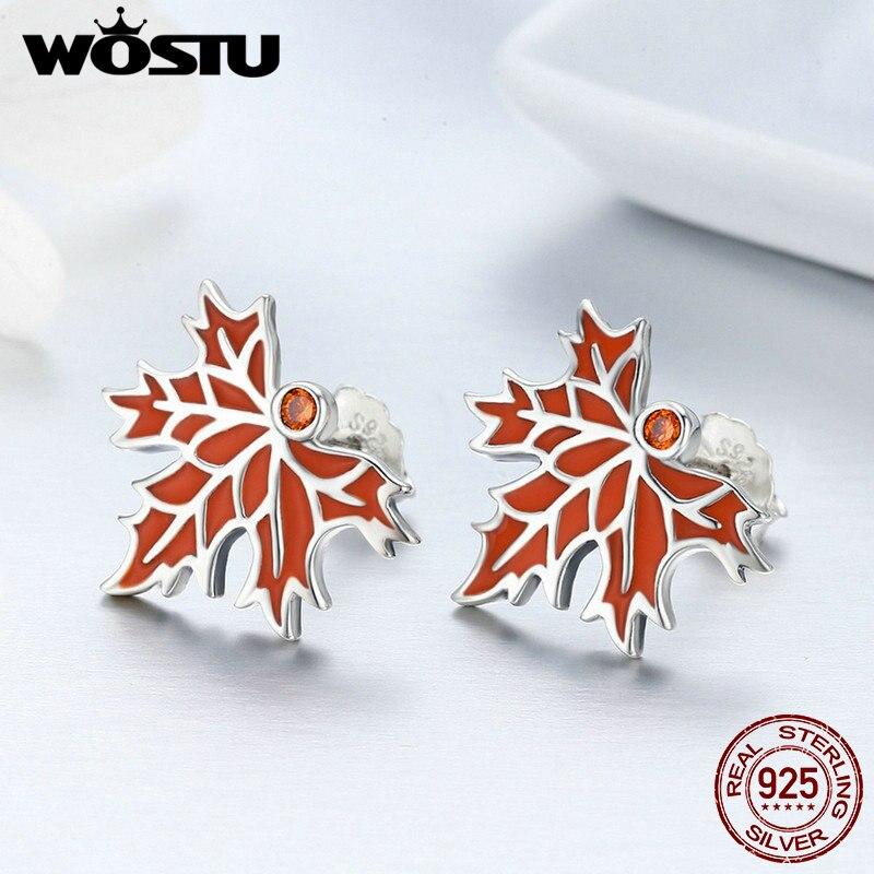 WOSTU Design Authentic 925 Sterling Silver Red Rouge Maple Leaves Stud Earrings for Women Enamel Brincos Fine Jewelry BKE264