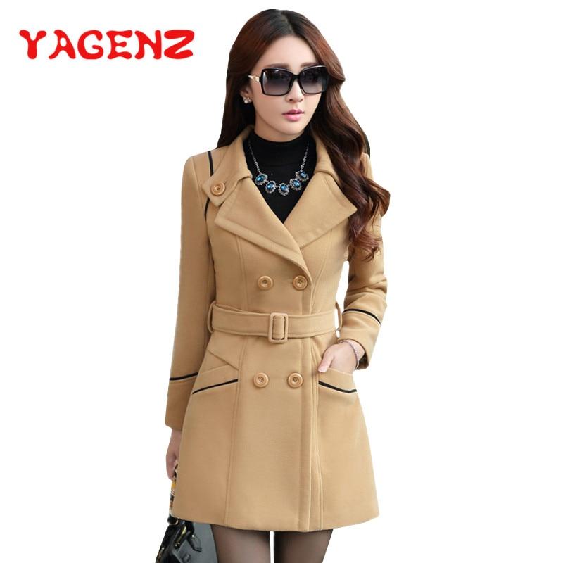 YAGENZ M-3XL Autumn Winter Wool Jacket Women Double Breasted Coats Elegant Overcoat Basic Coat Pocke