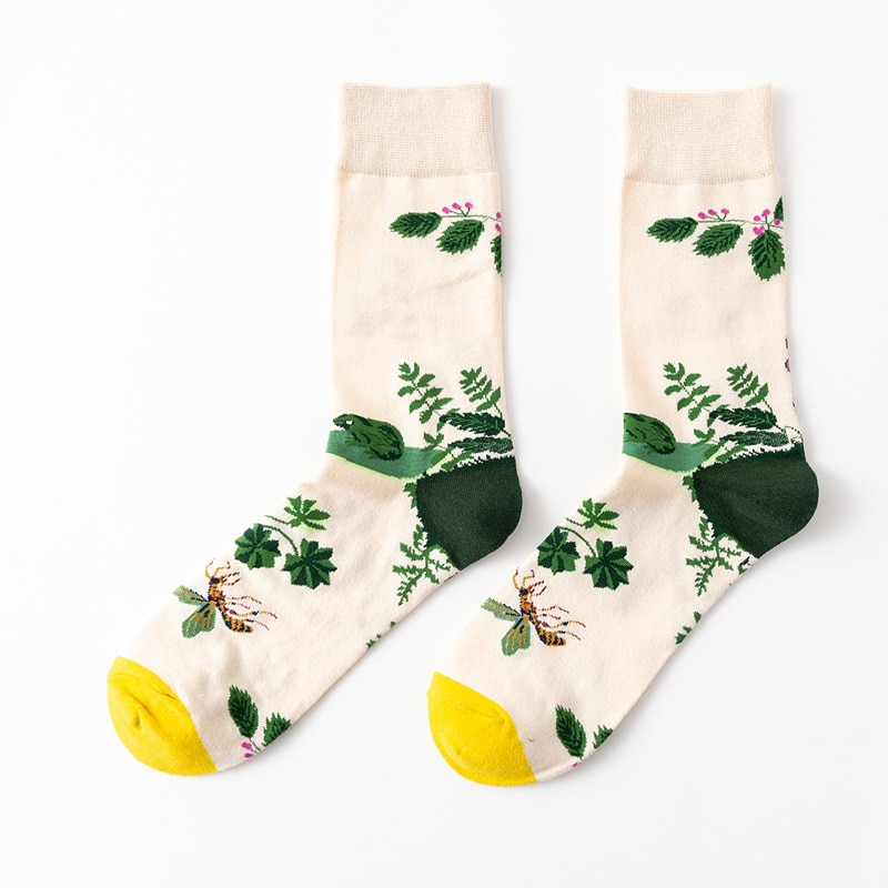 Mujeres calcetines creativos algodón flor y pájaro Sketch imprimir calcetines Anti-fricción mantener Delgado chica medias Calcetines Harajuku