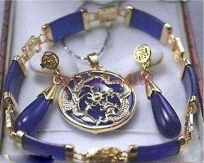 new Style Hot sale*** Beautiful purple jade   Dragon Pendant Necklace Earrings Bracelet Set Fashion Wedding Party Jewellery