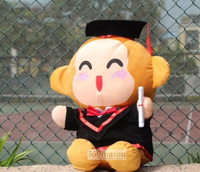 Über 20 cm bachelor kleid affe plüschtier Doktor hut affe puppe spielzeug souvenir geschenk graduierung präsentieren w6412