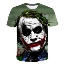 Le chevalier noir 3D imprimé T-Shirt hommes Joker visage décontracté col rond mâle t-shirts Clown à manches courtes mode Cosplay Pokemon T-Shirt