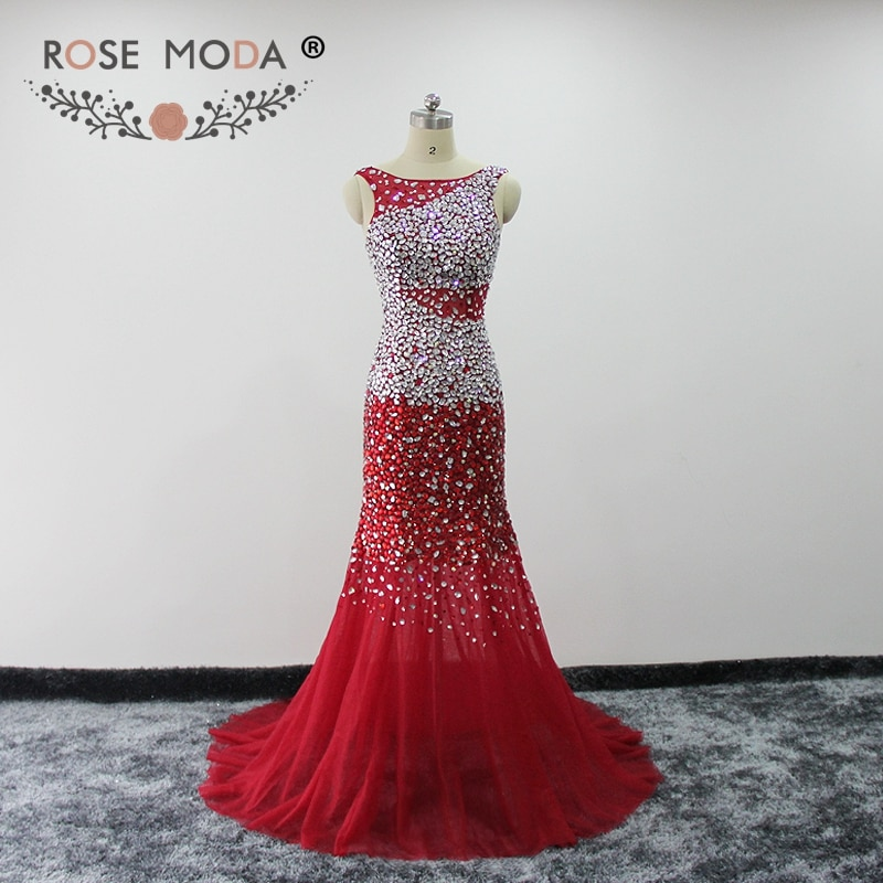 Rose Moda Red Mermaid Prom Dress Crystal Reflective Dresses