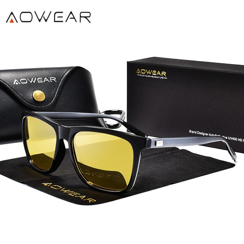 Очки AOWEAR HD для мужчин, очки ночного видения с желтыми алюминиевыми линзами, мужские поляризованные очки для ночного вождения