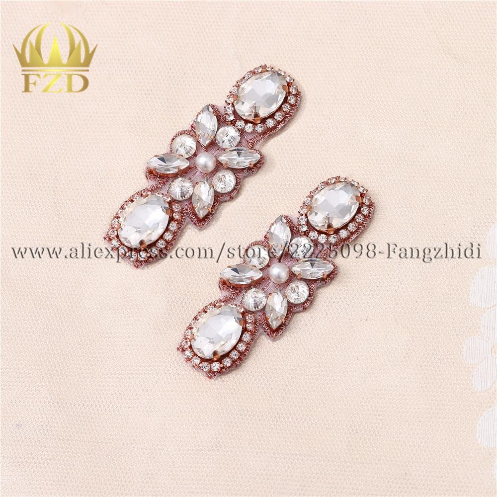FZD 1 par hecho a mano para coser en plancha caliente en aplique de diamantes de imitación de cristal plata para boda DIY etiqueta adhesiva para zapatos de novia Decoración