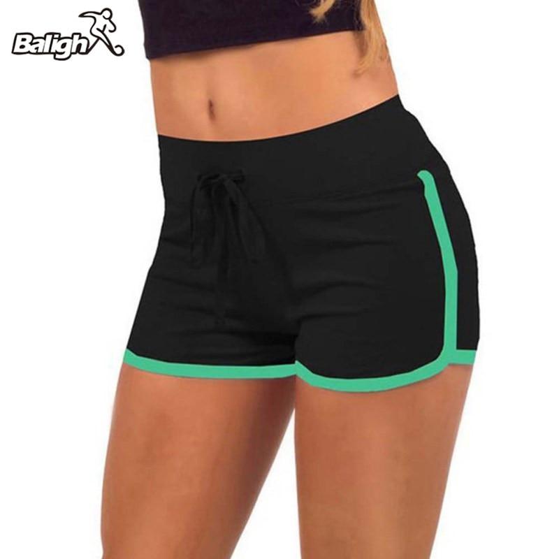 2018 pantalones cortos deportivos para Yoga y entrenamiento para correr, pantalones cortos deportivos de algodón de cintura alta, para ciclismo, para deportes, para mujer, talla grande