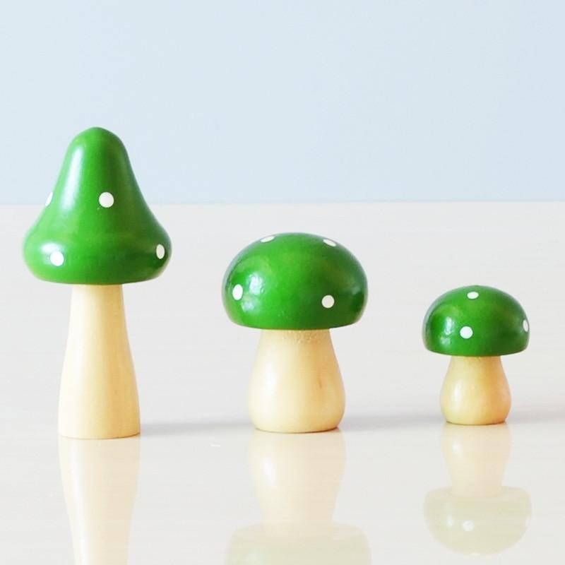 Lindo Hongo de madera simulación figuras manualidades adornos pequeños de color de Bonsai decoración paisaje Micro maceta regalos